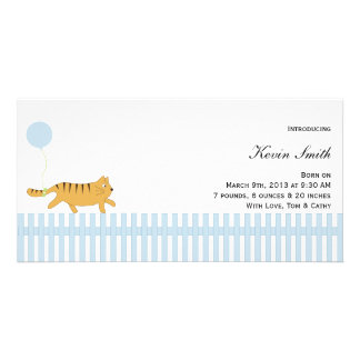 Orange Cat with Balloon Baby Announcement Customized Photo Card