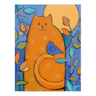 Orange Cat with Bird by Sue Davis Postcard
