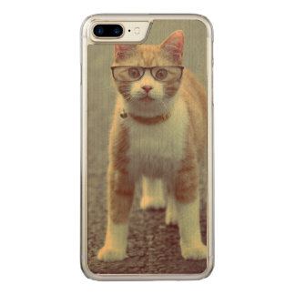Orange cat with glasses carved iPhone 8 plus/7 plus case
