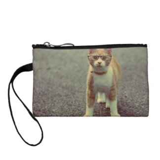 Orange cat with glasses coin wallets