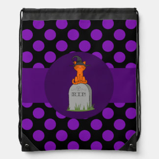 Orange Cat with Grave Stone & Purple Dots Rucksacks