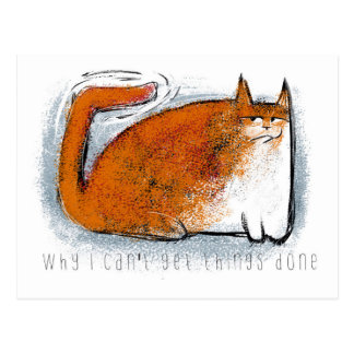 Orange cat with wiggly tail postcard