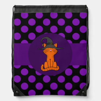 Orange Cat with Witch Hat & Purple Dots Drawstring Bags