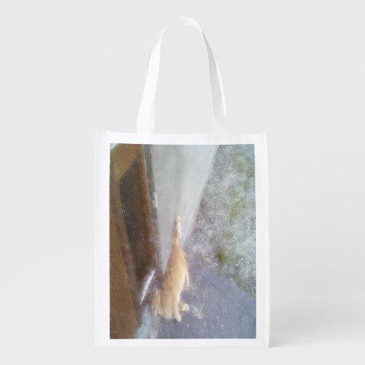 Orange cat grocery bags
