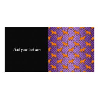 Orange Cats Pattern on Purple Polka Dots Photo Cards