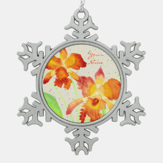 Orange Cattleya Orchids Watercolor Painting Pewter Snowflake Decoration