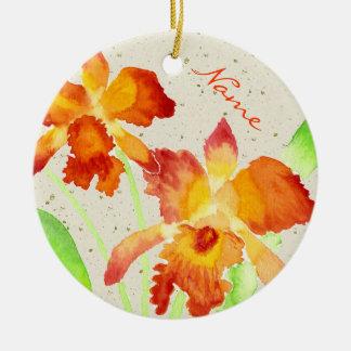 Orange Cattleya Orchids Watercolor Painting Round Ceramic Decoration