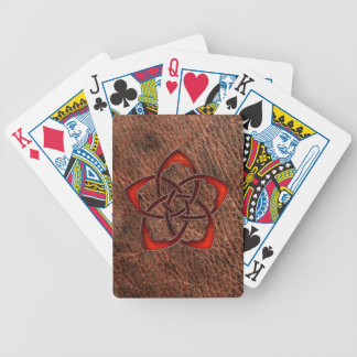 Orange celtic knot flower on geniune leather bicycle playing cards