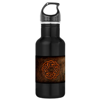 Orange celtic knot on leather 532 ml water bottle