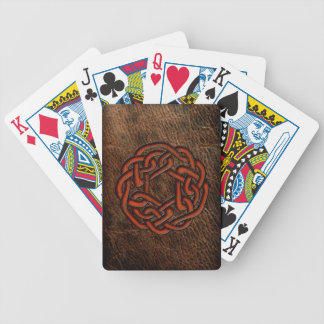 Orange celtic knot on leather bicycle playing cards