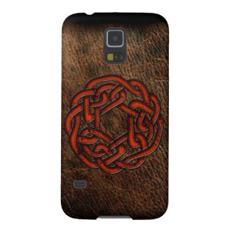 Orange celtic knot on leather galaxy s5 case