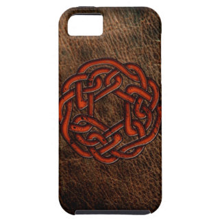 Orange celtic knot on leather iPhone 5 case