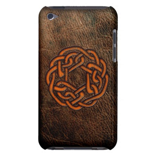Orange celtic knot on leather iPod Case-Mate case