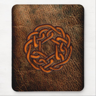 Orange celtic knot on leather mouse mat