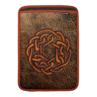 Orange celtic knot on leather sleeve for MacBook air