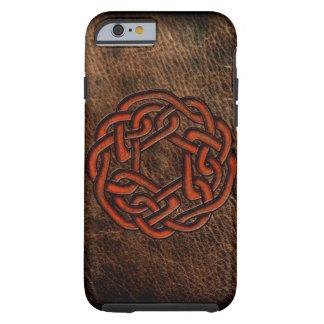 Orange celtic knot on leather tough iPhone 6 case