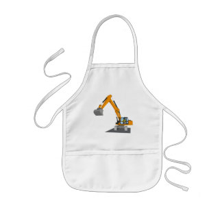 orange chain excavator kids apron