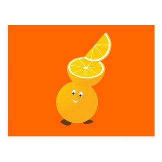 Orange character wearing orange slices postcards