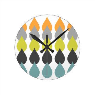Orange Chartreuse Yellow Aqua Patterned Design Round Clock