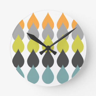 Orange Chartreuse Yellow Aqua Patterned Design Wall Clocks