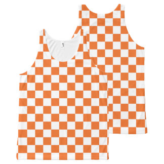 Orange Checkerboard All-Over Print Tank Top