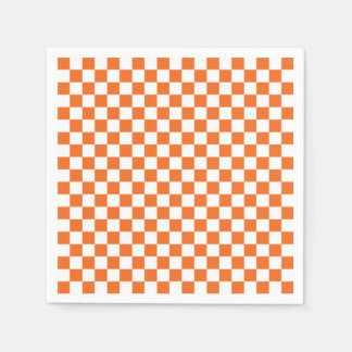 Orange Checkerboard Disposable Serviettes