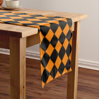 Orange Checkerboard Halloween Short Table Runner