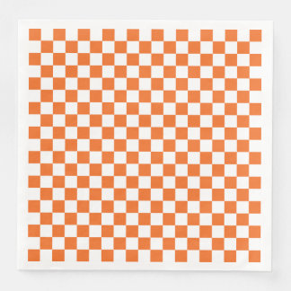 Orange Checkerboard Paper Napkins