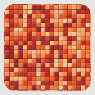 Orange Checks Square Sticker