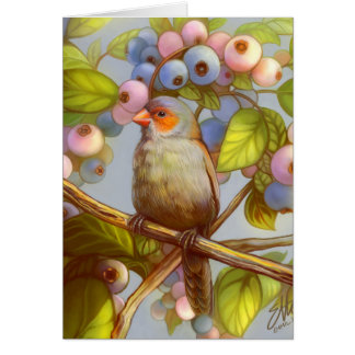 Orange cheeked waxbill finch with blueberries card