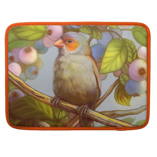 Orange cheeked waxbill finch with blueberries MacBook pro sleeves