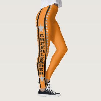 Orange cheerleader design pattern leggings