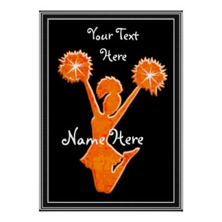 Orange Cheerleader Posters, YOUR TEXT, COLORS Poster