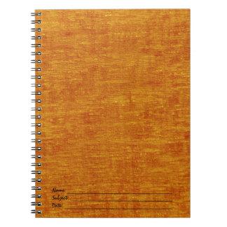 Orange Chenille Fabric Texture Spiral Note Book