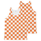 Orange Chequerboard All-Over Print Tank Top