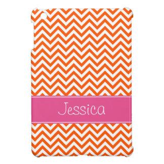 Orange Chevron Chic Pink Personalized iPad Mini Case