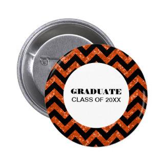 Orange Chevron Glitter Graduation Button