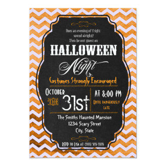 Orange Chevron Halloween Party Invitation