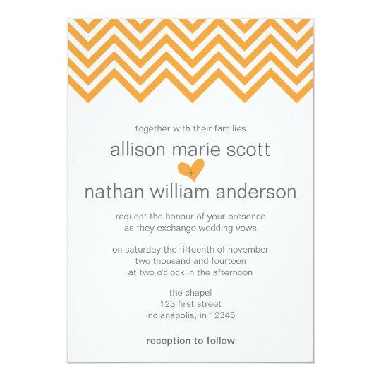 Orange Chevron Wedding Invitation