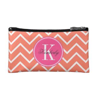 Orange Chevron with Pink Monogram Cosmetic Bag