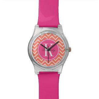 Orange Chevron with Pink Monogram Watch