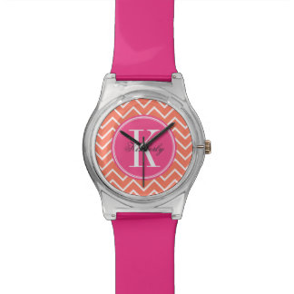 Orange Chevron with Pink Monogram Wrist Watches