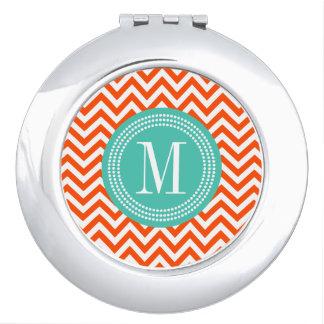 Orange Chevron Zigzag Personalized Monogram Vanity Mirror