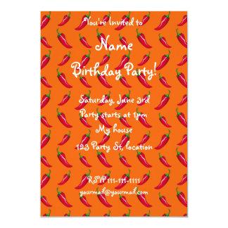 Orange chili peppers pattern 13 cm x 18 cm invitation card