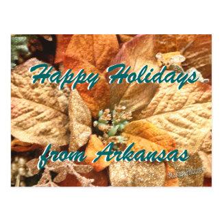Orange Christmas Poinsettia customize Postcard