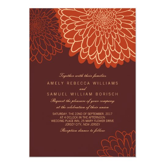 Orange Chrysanthemum Brown Autumn Wedding Invite