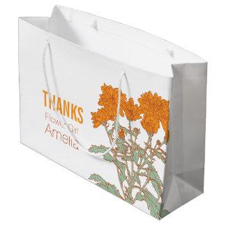 Orange chrysanthemum wedding flower girl favor bag