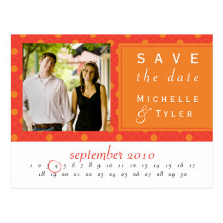 Orange Circle Save the Date Card Postcards