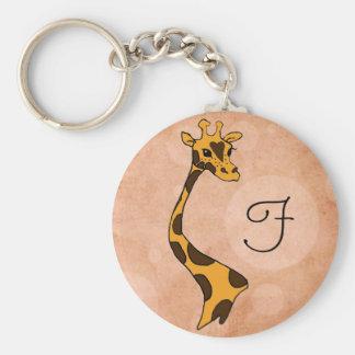 Orange Circles Cartoon Giraffe ~ Round Keychain