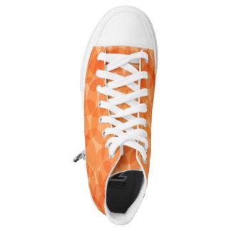 Orange Circles Zipz High Top Shoes,US Women 8.5 Printed Shoes